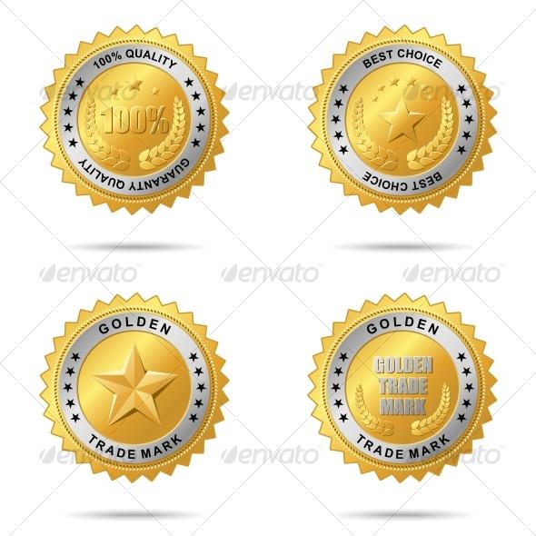Set of Best Choice Golden Labels - Decorative Symbols Decorative