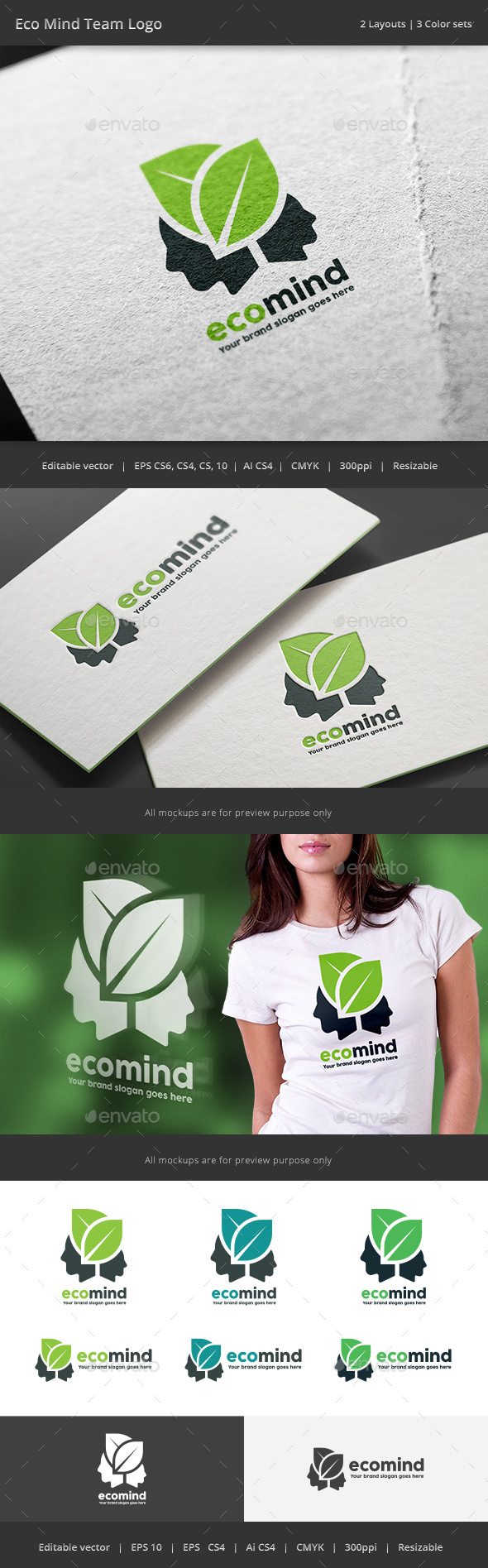Eco Mind Team Logo - Vector Abstract