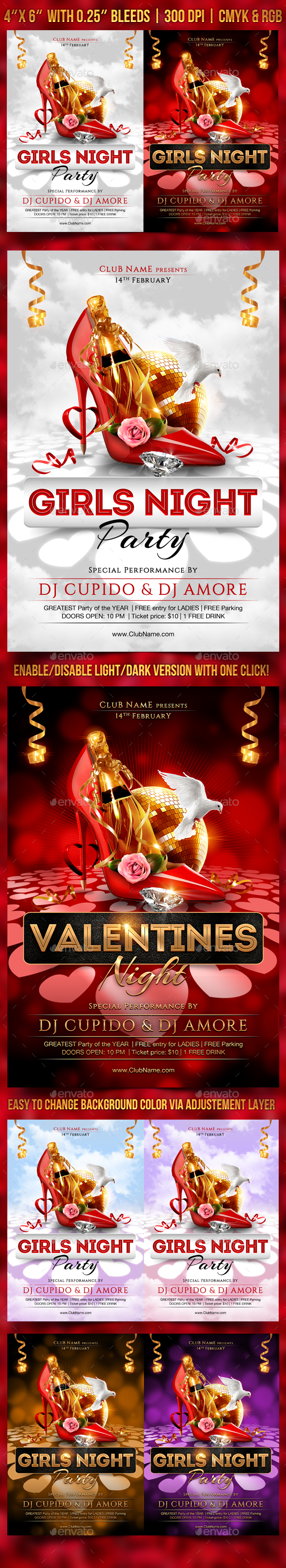 Girls Night Flyer Template - Clubs & Parties Events