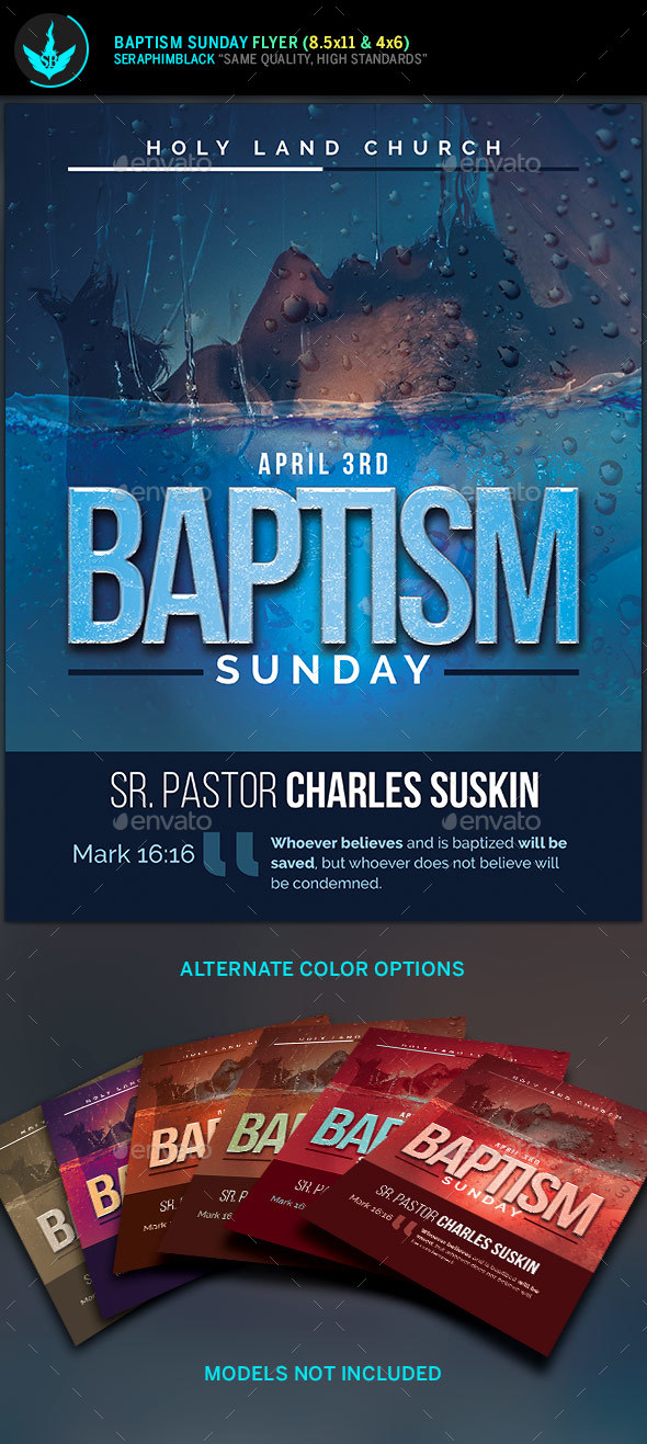 Baptism Sunday Church Flyer  Template - Church Flyers