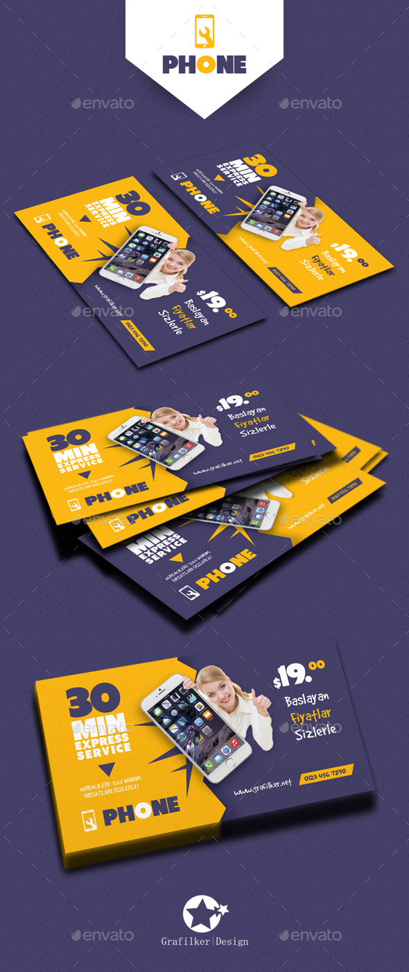 Phone Repair Business Card Templates By Grafilker Graphicriver