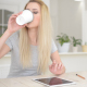 Drinking Coffee, Using Tablet at Work - VideoHive Item for Sale