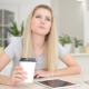 Girl Thinking and Drinking Coffee - VideoHive Item for Sale