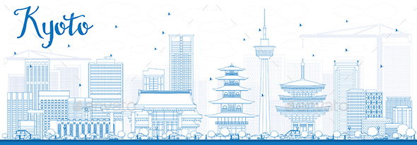 Outline Kyoto Skyline with Blue Landmarks - Buildings Objects