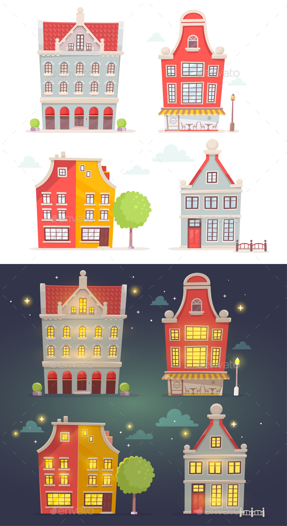 Set of Day and Night Buildings - Buildings Objects