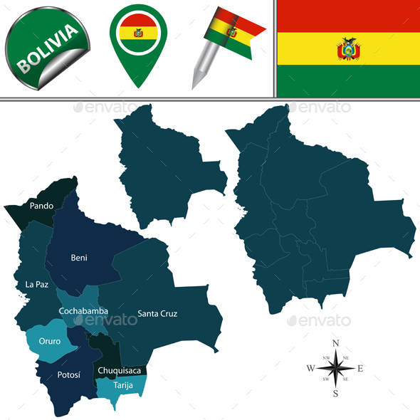Map of Bolivia with Named Divisions - Travel Conceptual