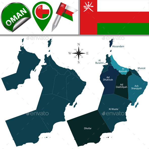 Map of Oman with Named Governorates - Travel Conceptual