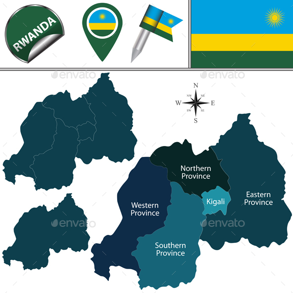 Map of Rwanda with Named Provinces - Travel Conceptual