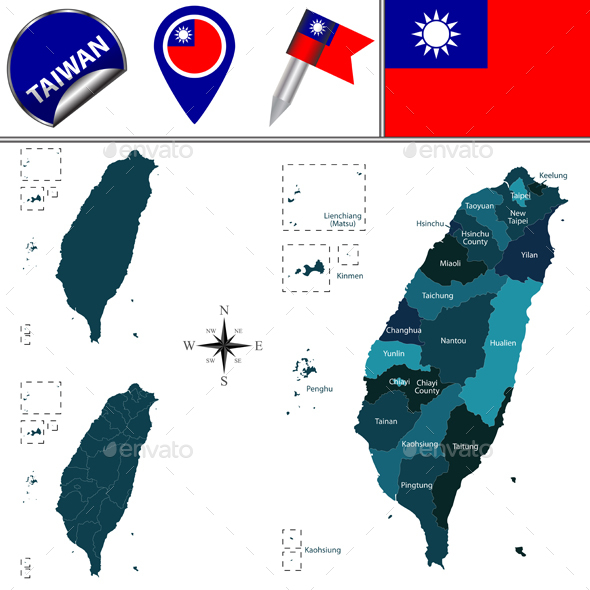 Map of Taiwan with Named Divisions - Travel Conceptual