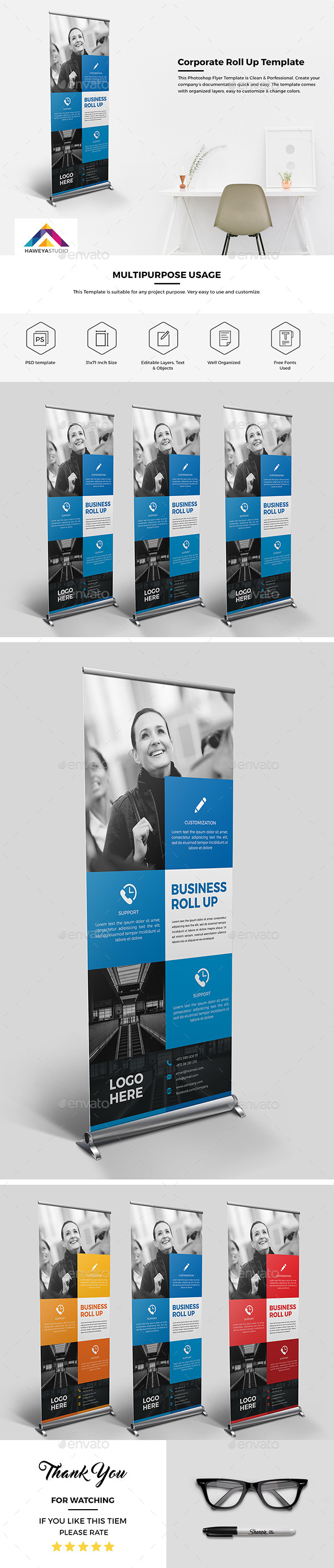 Haweya Corporate Roll Up 01  - Signage Print Templates
