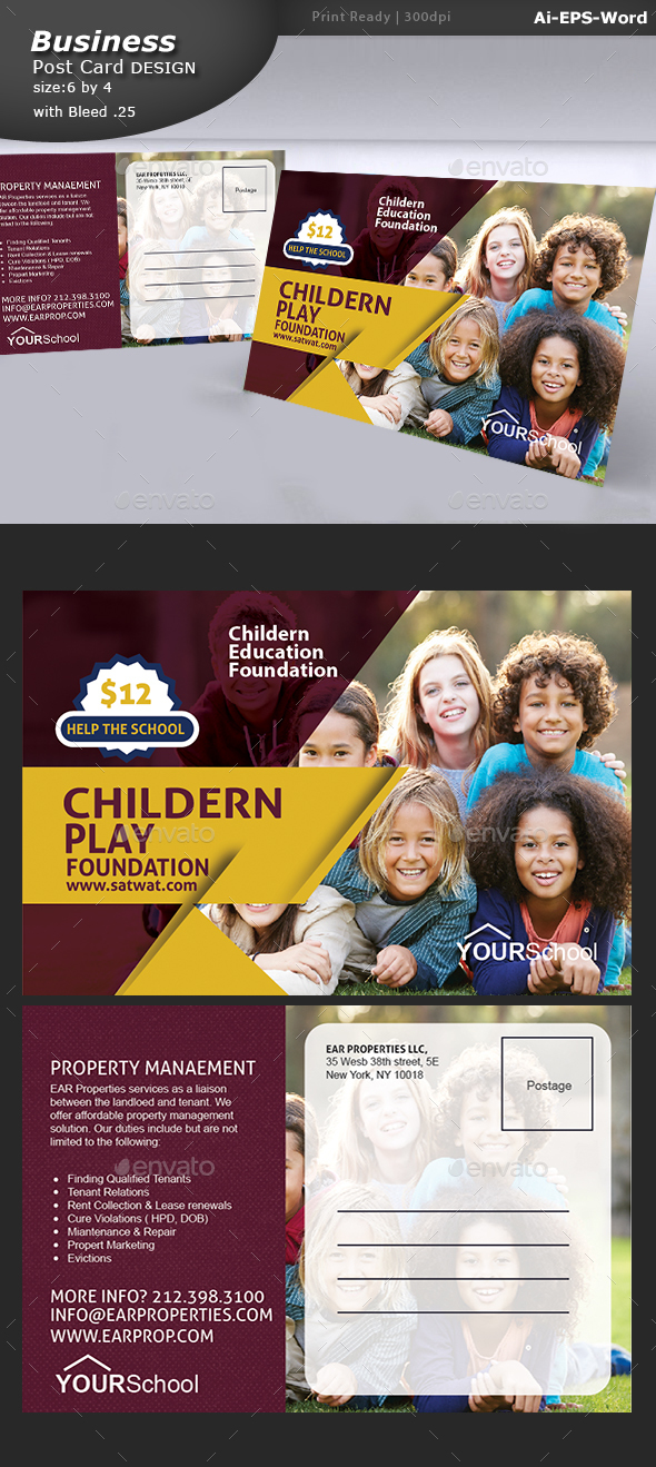 School Education Post Card  - Flyers Print Templates