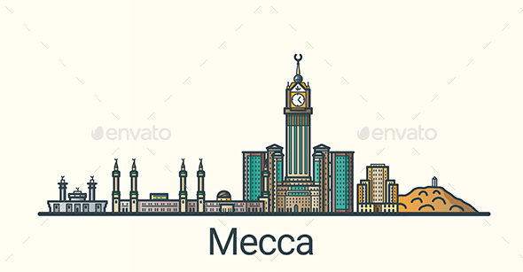 Line Flat Mecca Banner - Buildings Objects