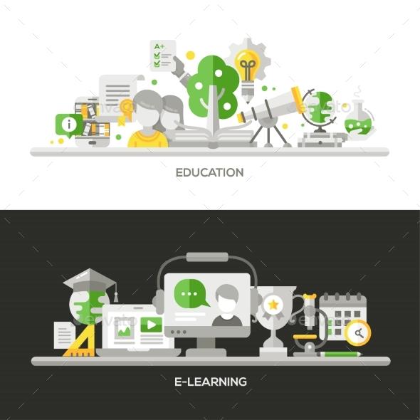 Online Education, E-Learning Concept Compositions - Web Elements Vectors
