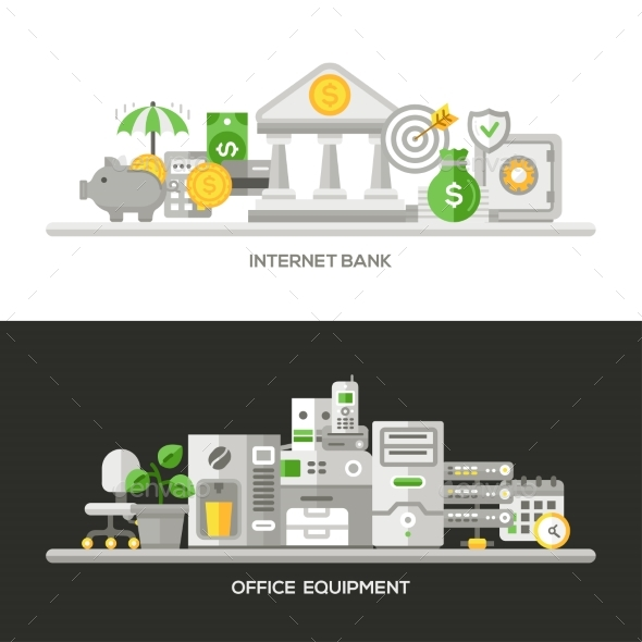 Internet Bank, Office Equipment Flat Design - Concepts Business