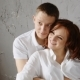 Attractive Pregnant Woman Lying On Vintage Sofa. Back Hugs Her Handsome Husband. I Look Away And - VideoHive Item for Sale
