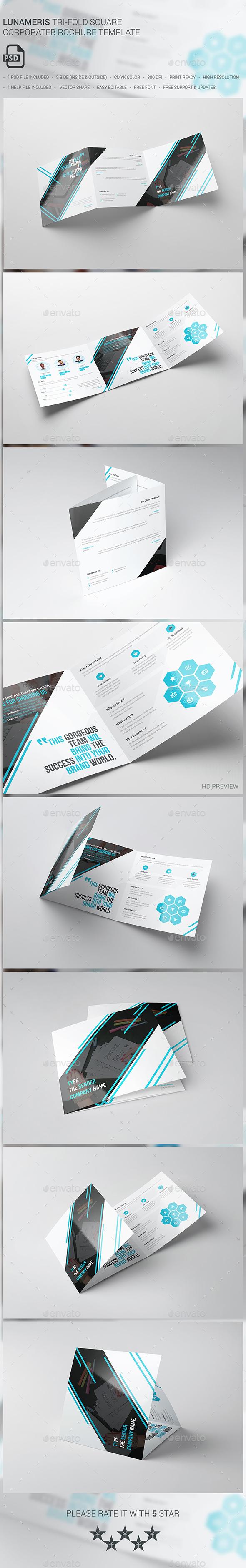 Lunameris Square Tri-fold Brochure Template - Brochures Print Templates