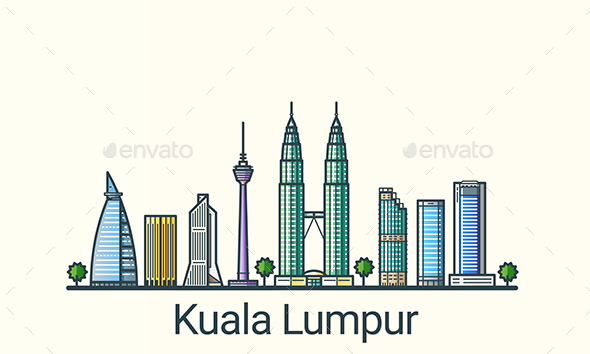 Line Flat Kuala Lumpur Banner - Buildings Objects