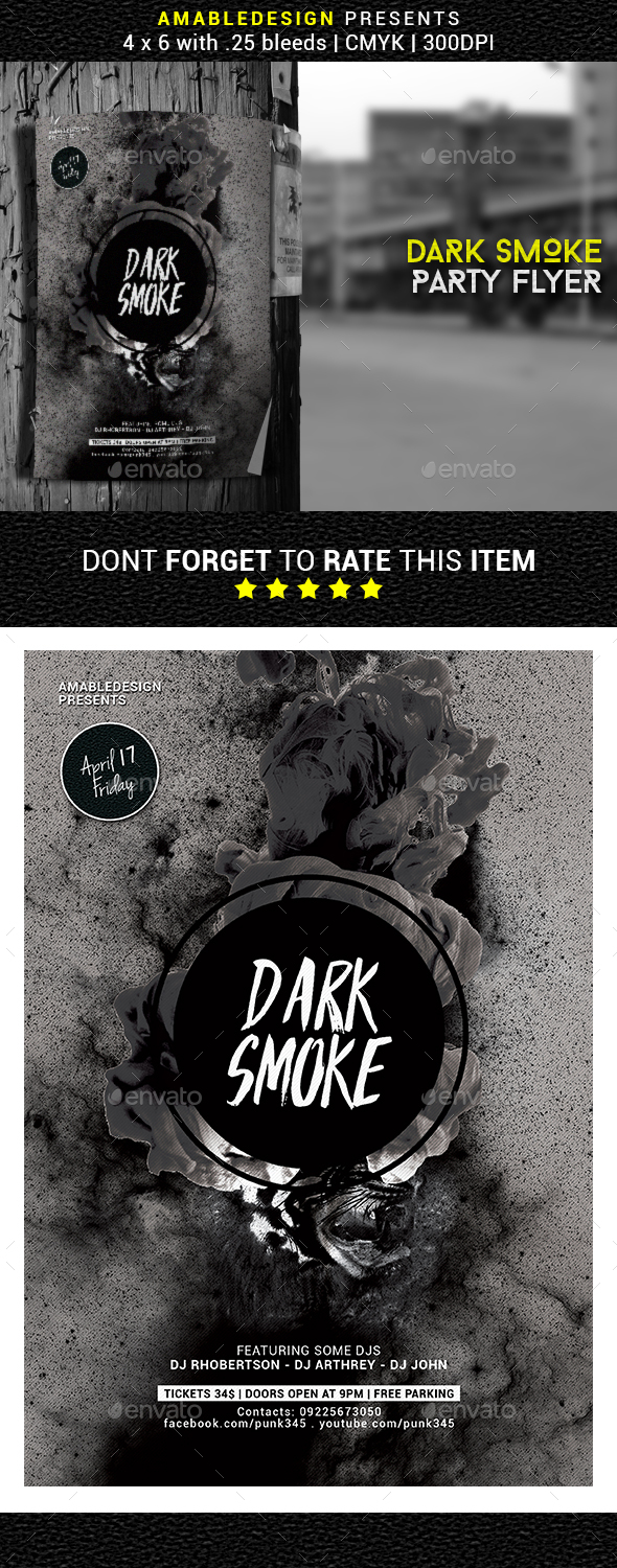 Dark Smoke Flyer/Poster - Clubs & Parties Events