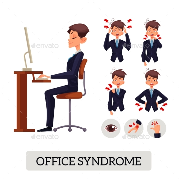 Concept of Office Syndrome - People Characters