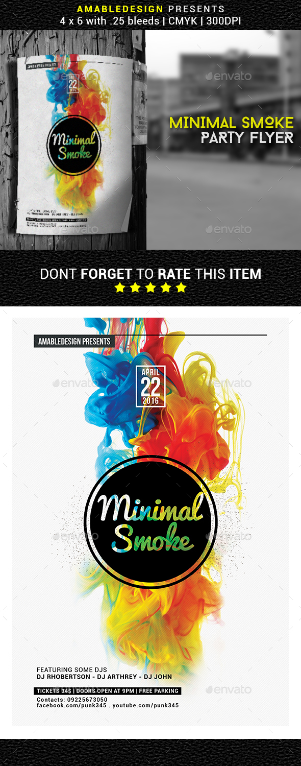 Minimal Smoke Flyer/Poster - Clubs & Parties Events