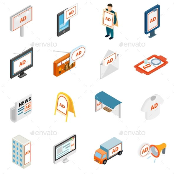 Advertisement Icons Set - Miscellaneous Icons