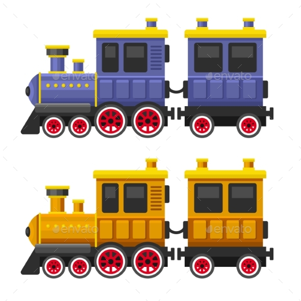 Simple Style Color Toy Trains and Wagons Set - Travel Conceptual