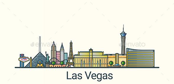Line Flat Las Vegas Banner - Buildings Objects