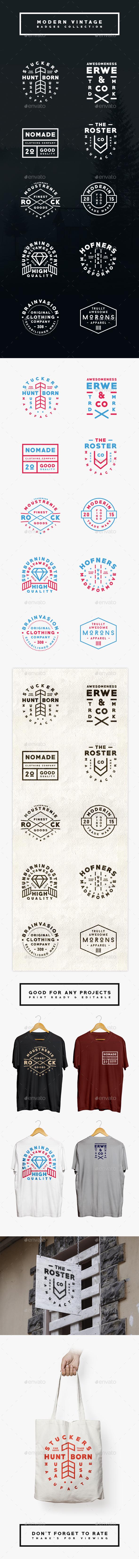 Modern Vintage Logo/Badges Collection - Badges & Stickers Web Elements
