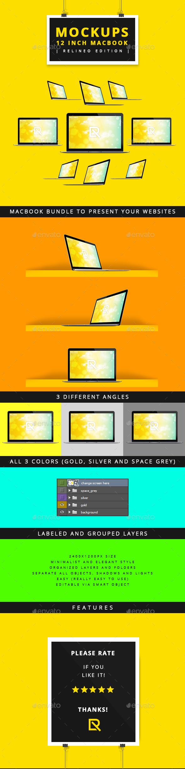 """Apple Macbook 12"""" Display Mock-up Pack - Laptop Displays"""
