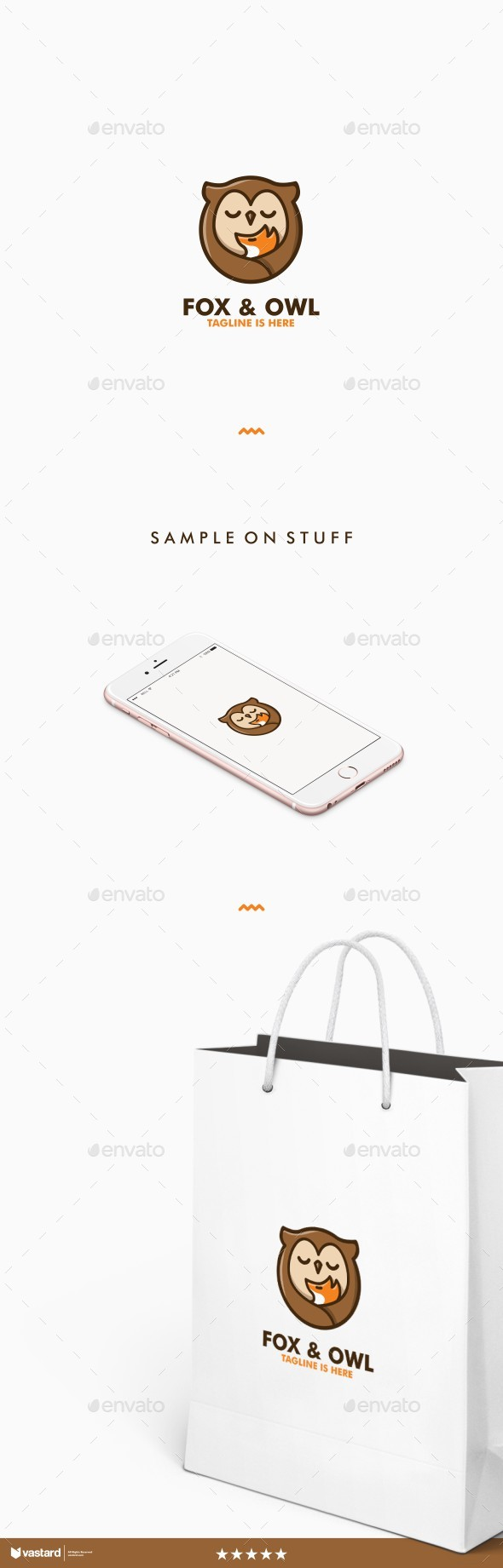 Fox & Owl logo - Animals Logo Templates