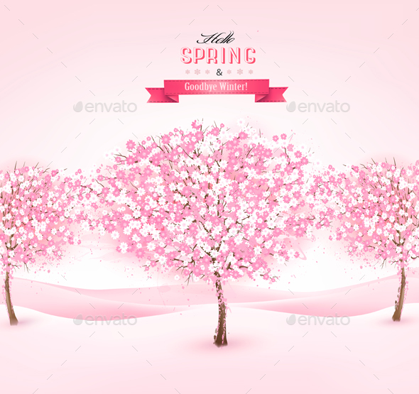 Spring Background with Cherry Blossom Trees - Flowers & Plants Nature