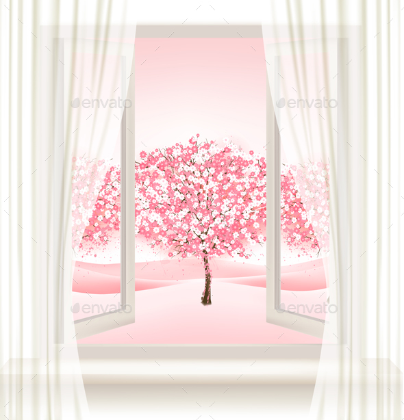 Pink Cherry Blossom Tree View from a Window - Landscapes Nature