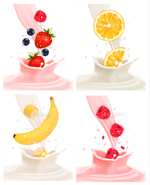 Four Different Labels with Fruit Falling into Milk - Food Objects