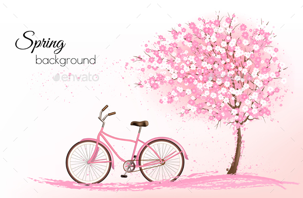 Spring Background with a Blossoming Tree and Bike - Landscapes Nature