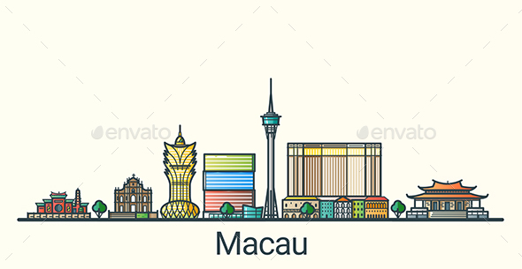 Line Flat Macau Banner - Buildings Objects