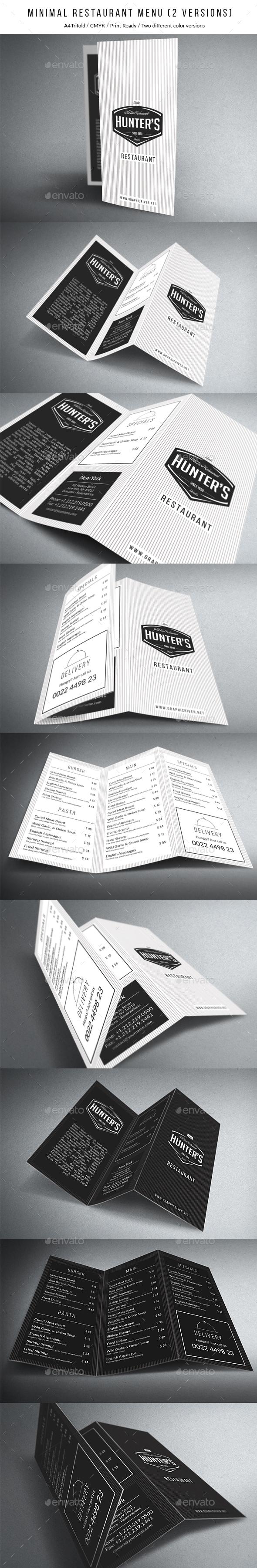 Minimal A4 Trifold Menu - 2 Versions - Food Menus Print Templates