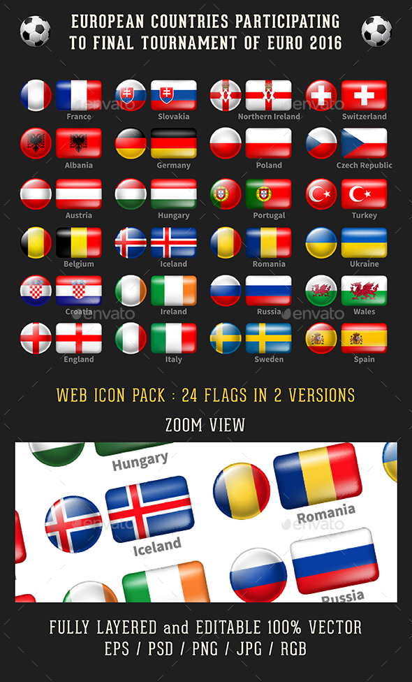 2016 Euro Cup - Flags of Participants Countries - Icons