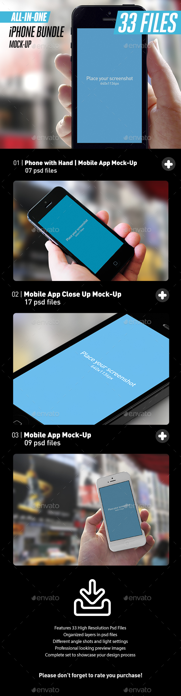 All-in-One App UI Close-Up White iPhone Mock-Up Bundle - Mobile Displays