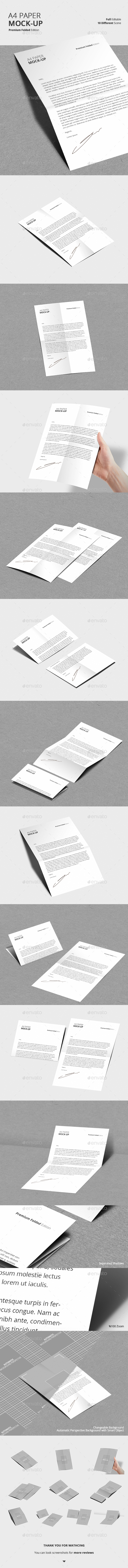 A4 Folded Paper Mock-Up - Product Mock-Ups Graphics