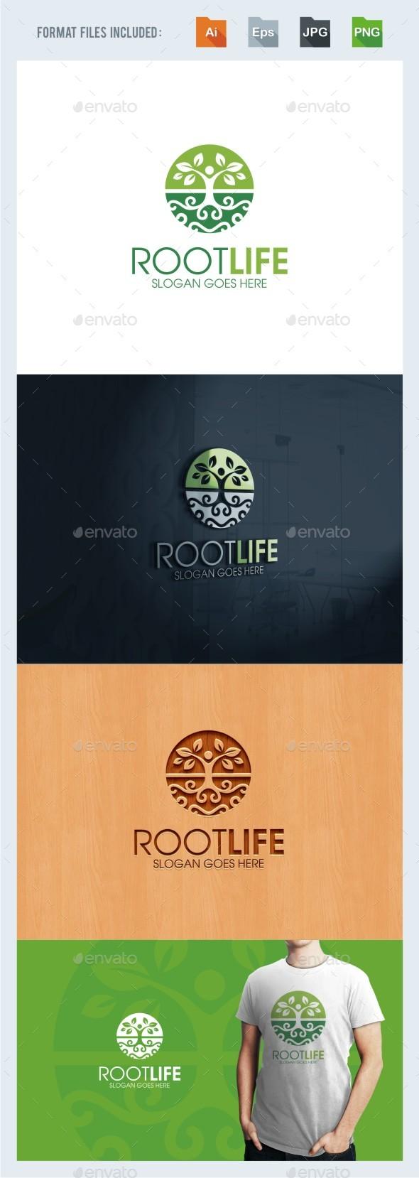 Root Life Logo Template - Nature Logo Templates