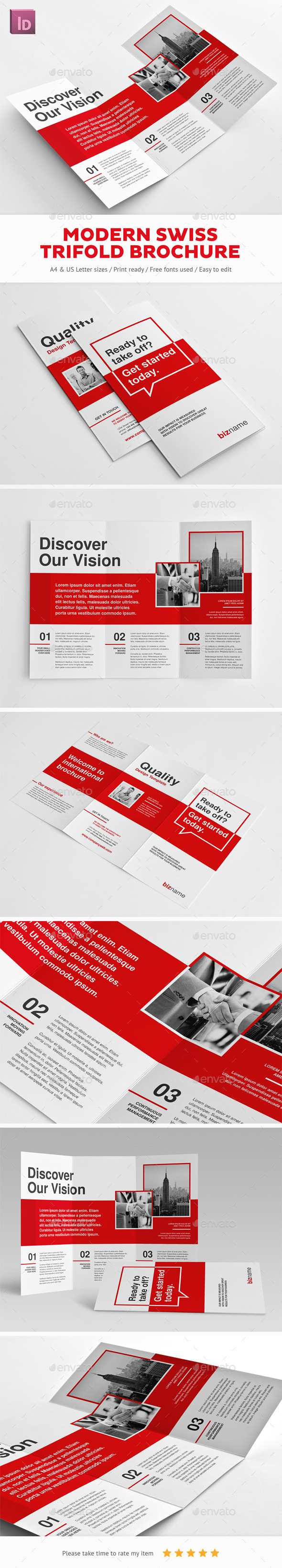 Modern Swiss Trifold Brochure - Corporate Brochures