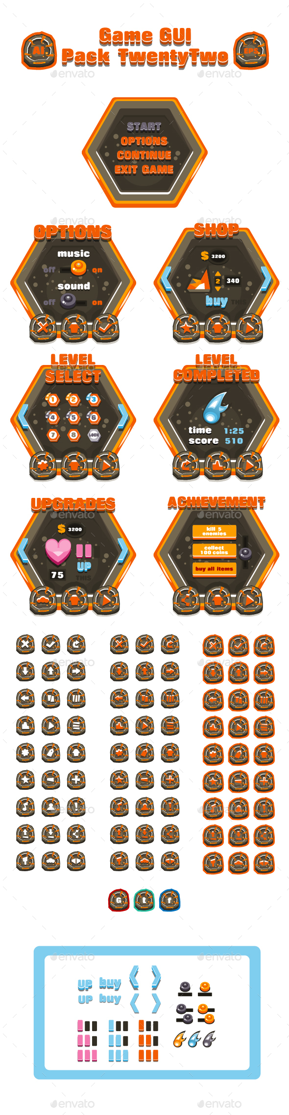 Game GUI Pack TwentyTwo - User Interfaces Game Assets