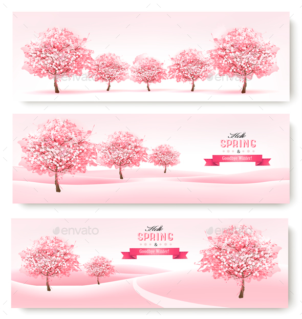 Three Spring Banners with Pink Cherry Blossom - Landscapes Nature