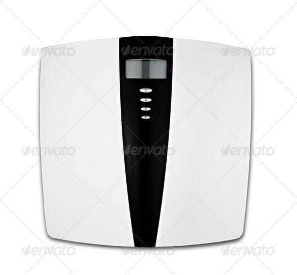 bathroom scale isolated on white - Stock Photo - Images