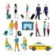 People in Airport Flat Icons Set - GraphicRiver Item for Sale