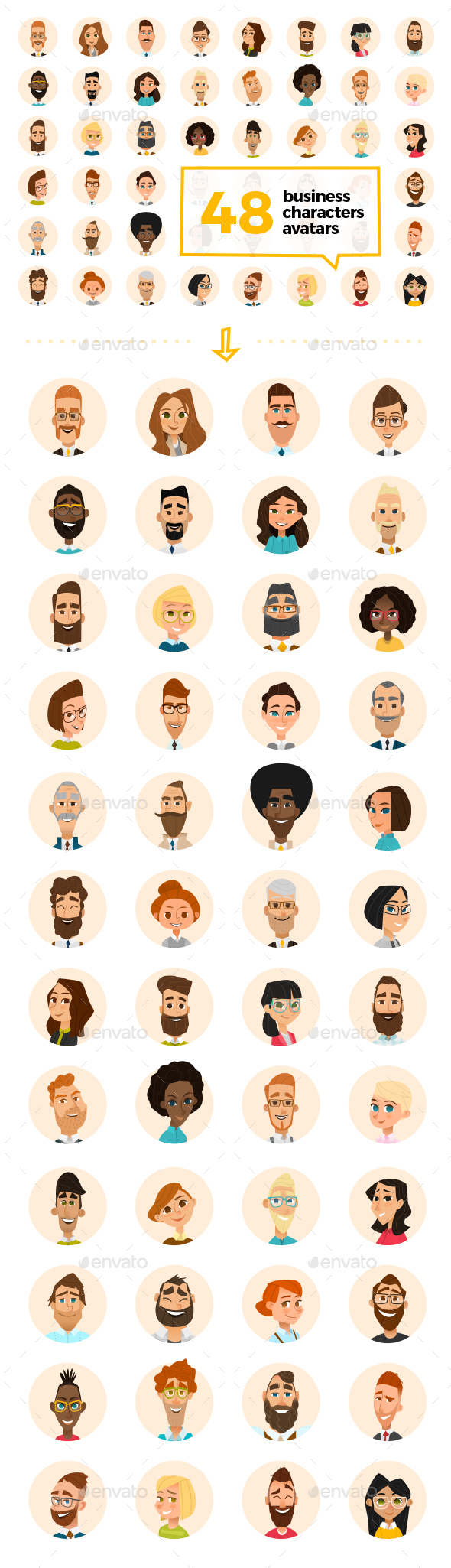 48 Business Cartoon Avatars - People Characters