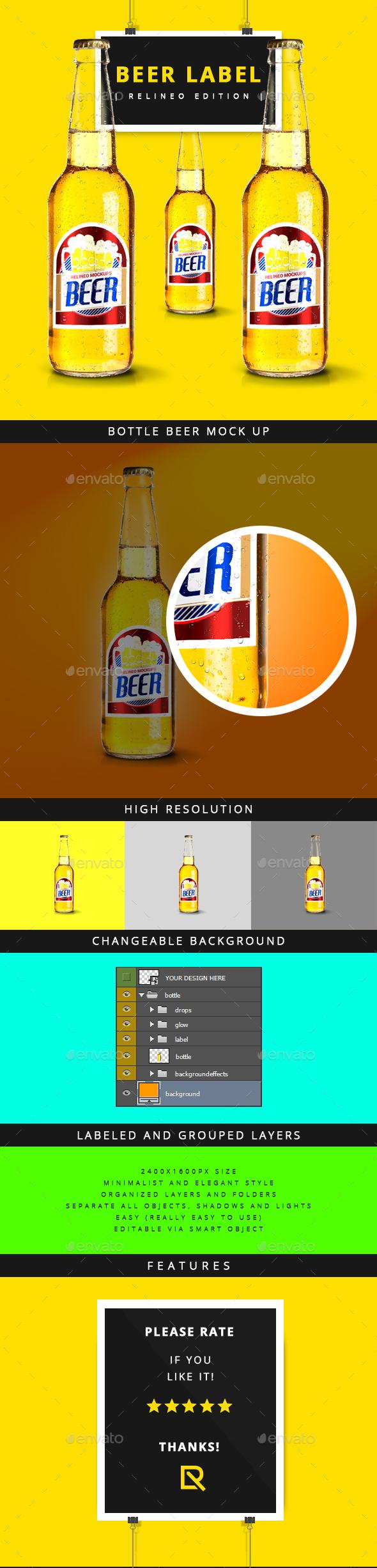 Beer Bottle Label Mock-up Vol.3 - Food and Drink Packaging