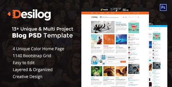 Desilog - Blog and File Resource PSD Template - PSD Templates