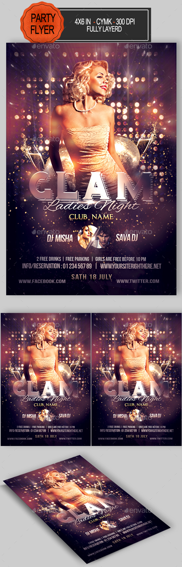 Glam Ladies Night Flyer - Clubs & Parties Events