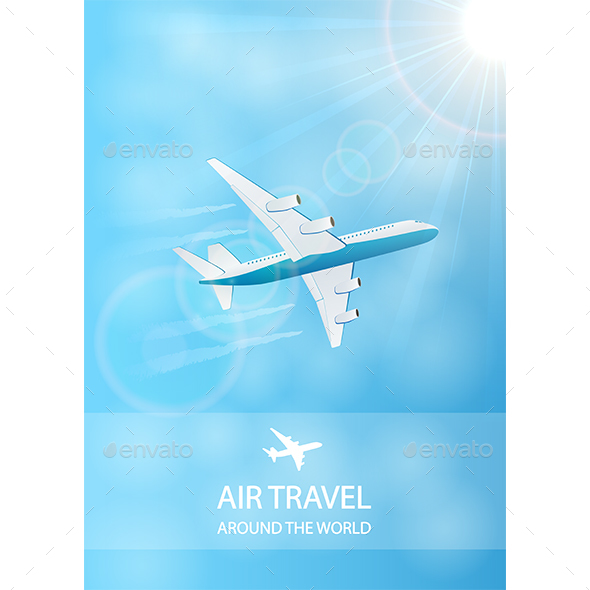 Air Travel Background with Plane - Travel Conceptual